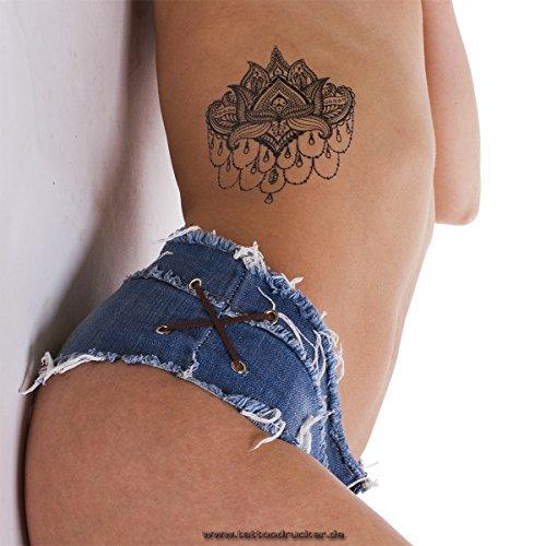 2 x Mandala Lotus Flower Tattoo - Indian Mandala temporary Tattoo