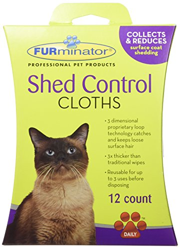 FURminator Cat Shed Control Cloths, 12-Count