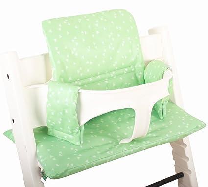 Cojín para Stokke TrippTrapp - Plastificado - Mint verde con triángulos ♥♥♥