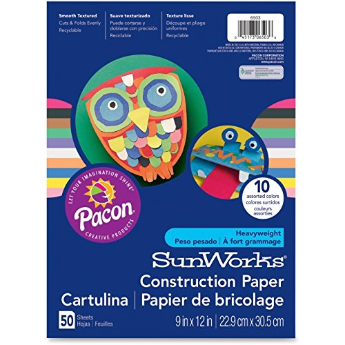 SunWorks Construction Paper, 58 lbs, 9 x 12, Magenta, 50 Sheets/Pack