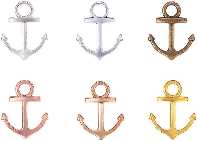 PandaHall 90pcs 6 colores tibetanos aleación ancla náutica encantos abalorios de barco signo metal pedantes para DIY pulsera collar joyería fabricación