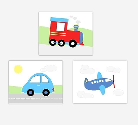 Baby Boy Nursery Art Train Airplane Plane Car Transportation Toddler Bedroom Decor SET