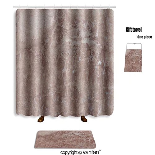 vanfan bath sets with Polyester rugs and shower curtain rosso antico unique beige pink almost terraco shower curtains sets bathroom 60 x 72 inches&23.6 x 15.7 inches(Free 1 towel and - Justin Rosso