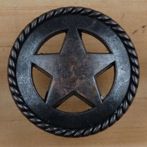 Knob Antique Star Cabinet - Set of 24 Rustic Rope Lone Star Drawer Pulls Cabinet Knobs Western Southwest Decor Texas (Oil Rubbed Brass)