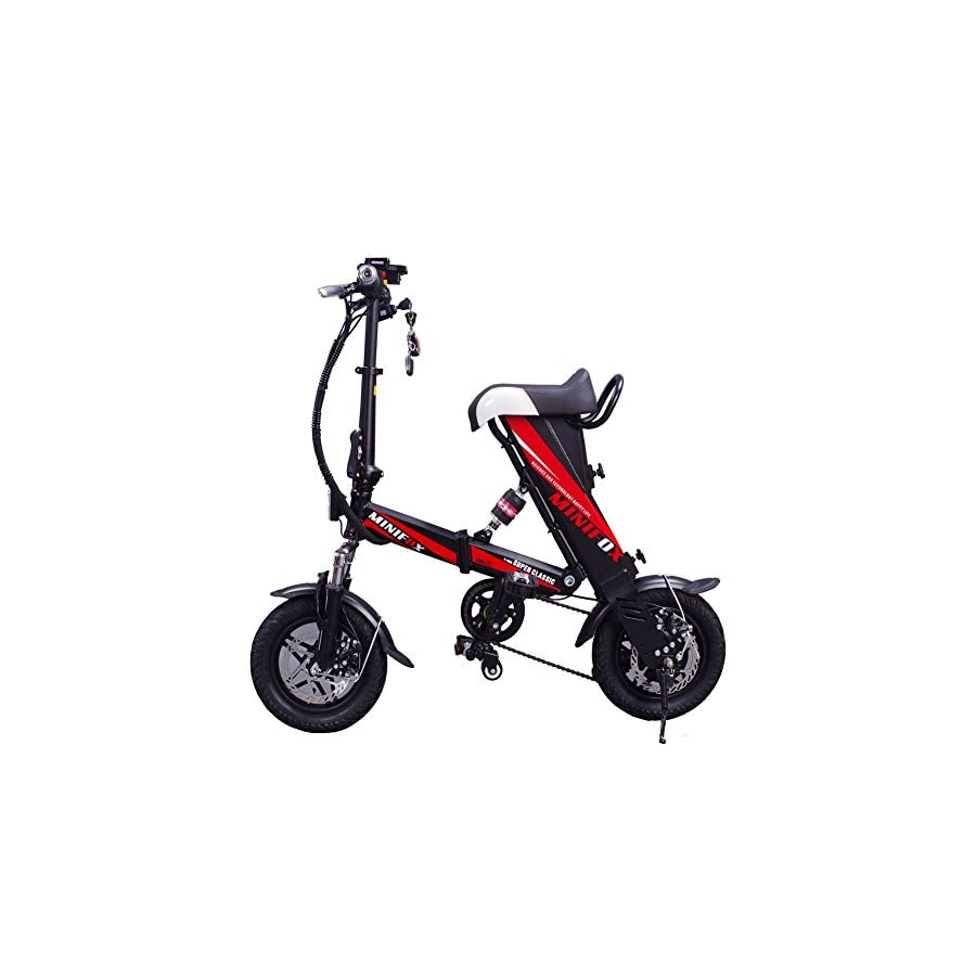 MEIYATU E Bike Folding Electric Bicycle with 15 18 Miles Range, E Bike Scooter 250W Powerful Motor Collapsible Frame 36V