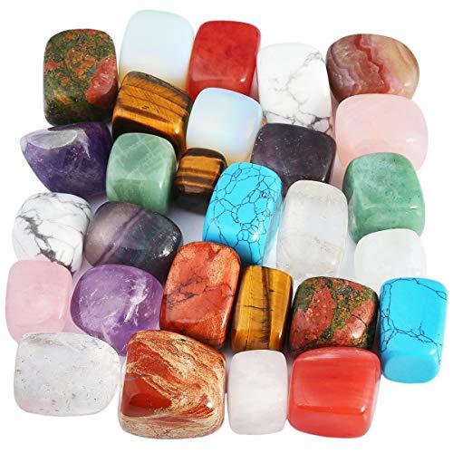 Nupuyai 1 lb Tumbled Stones Irregular Shape Polished Crystals, Reiki Chakra Healing Quartz, Home and Garden Decor from Nupuyai