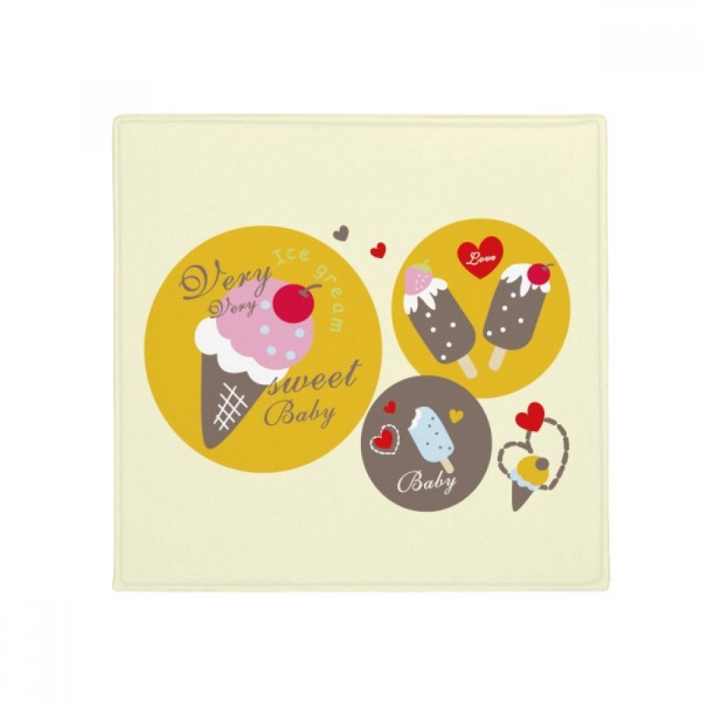 DIYthinker Cherry Heart Popsicle Sweet Ice Cream Anti-Slip Floor Pet Mat Square Home Kitchen Door 80Cm Gift