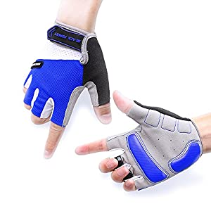 Cycling Gloves, Morris Mountain Bike Gloves Road Racing Bycycle Gloves Light Riding Gloves Half Finger Biking Gloves for Men and Women (Blue, XL)