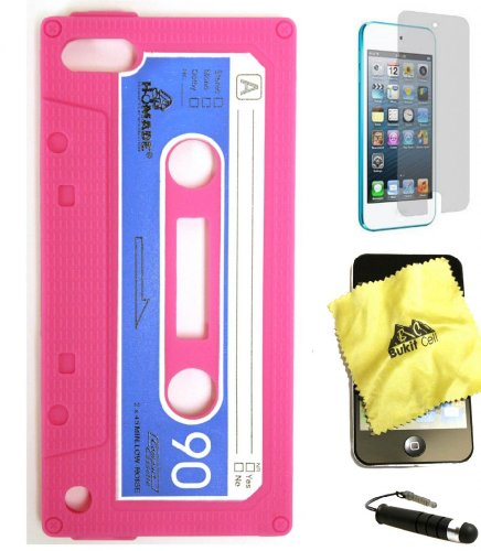 BUKIT CELL iPod Touch 6th/5th Generation Cassette Tape Silicone Case (HOT PINK) + BUKIT CELL Cleaning Cloth + Screen Protector + METALLIC Touch STYLUS PEN