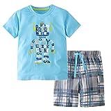 Heris Little Boys' Summer Cotton Short Sleeve Clothing Sets (5T, Blue3)