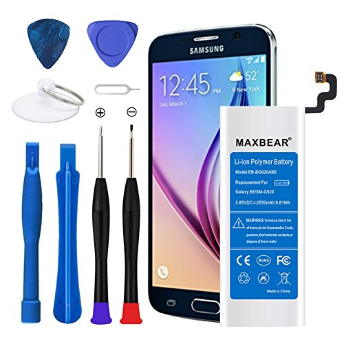 MAXBEAR Galaxy S6 Battery, [2550mAh] Lithium Ion Polymern Internal Battery EB-BG920ABE Replacement for Samsung Galaxy S6 SM-G920 with Free Tool.[12 Month Warranty]
