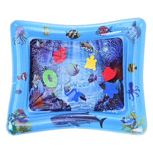 Transser Inflatable Tummy Time Premium Water Mat Infants & Toddlers - Inflatable Water Playmat Fun Activity Play Center Your Baby's Stimulation Growth, Shipping From CA. or NJ. (Rectangle, Blue)