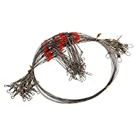 FEDULK 10 Pcs Fishing Wire Leader Trace with Snap Fishing Rig Bottom Fishing and Surf Fishing
