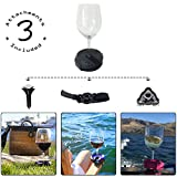 Outdoor Wine Glass Holder by Bella D'Vine – Includes Wine Stake For Picnics, Suction Base For Boats, Bath and Hot Tubs, Strap For Lawn Chairs – Fun Wine Gift for Her – Graphite Grey