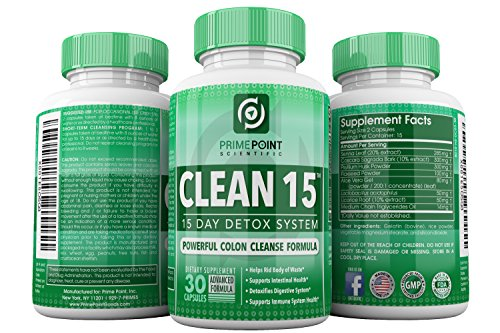 Prime-Point-Scientific-CLEAN-15-Advanced-Formula-Best-Complete-Detoxifying-System-with-Powerful-Colon-Cleanse-for-Weight-Loss-Increased-Energy-and-Bowel-Regularity-30-Tablets