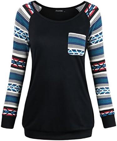 FANSIC suéter tejido mangas largas raglán, informal, con bolsillo en la parte superior, para mujer.
