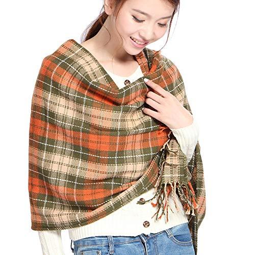 "Clearance Scarf DEATU Women Fashion Shawl Ladies Autumn Plaid Scarves Hot Sale(b-Orange,200cm/78.7"" & 60cm/23.6"") from DEATU"