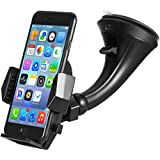 Windshield Car Mount Holder – Getron Universal Windshield Dashboard Cell Phone Cradle with One Click Release for iPhone X 8 Plus 8 Samsung Galaxy S8 Plus Note 8 Google and Most Smartphones – Black