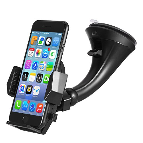 Price comparison product image Windshield Car Mount Holder – Getron Universal Windshield Dashboard Cell Phone Cradle with One Click Release for iPhone X 8 Plus 8 Samsung Galaxy S8 Plus Note 8 Google and Most Smartphones – Black