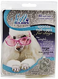 Soft Claws Dog and Cat Nail Caps Take Home Kit, Large, Sparkle Silver
