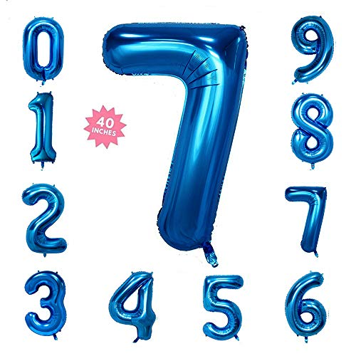 40 Inch Blue Jumbo Digital Number Balloons 7 Huge Giant Balloons Foil Mylar Balloons for Birthday Party,Wedding, Bridal Shower Engagement Photo Shoot, Anniversary]()