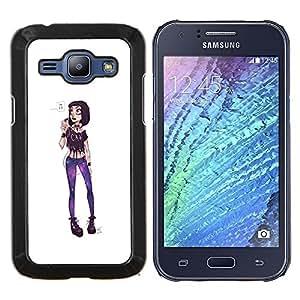LECELL--Funda protectora / Cubierta / Piel For Samsung Galaxy J1 J100 -- Chica Punk Funky extravagante moda púrpura --