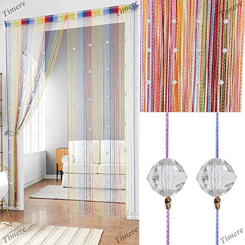 Timere Crystal Beaded Curtain Tassel Curtain - Partition Door Curtain Beaded String Curtain Door Screen Panel Home Decor Divider Crystal Tassel Screen 90x200cm (Rainbow)