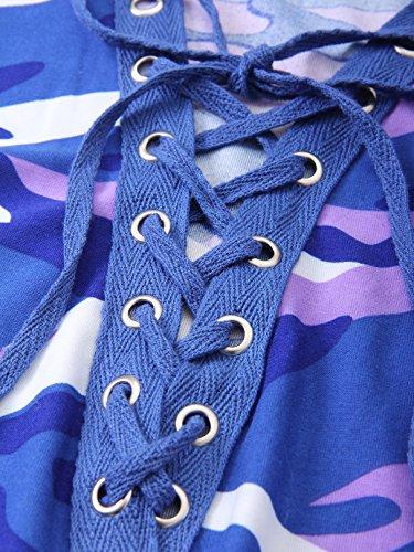 Mujer Blue Purple Larga Camiseta Camouflage Manga Yoins Para De pvwHTxqxnA