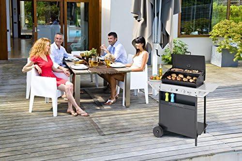 Campingaz Barbecue à gaz Xpert 200 L Vario, Barbecue compact 2 brûleurs, Puissance 7.1kW, Grille et plancha en acier, 2 tablettes latérales et chariot en acier