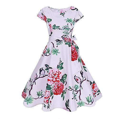 Mujer Imprimir Blanco Cintura De Corbata Elegante Vestidos Tamaño Túnica Vintage Mini Small Estampado Color Informal Rosado Floral Hepburn Playa Con Camiseta Vestido 15qww7Zn
