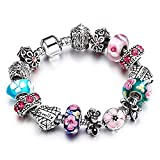 YYcharm Love Heart Crystal Beads Peach Blossom Silver Plated Family Charm Bracelet Bangle for Women Jewelry Gift