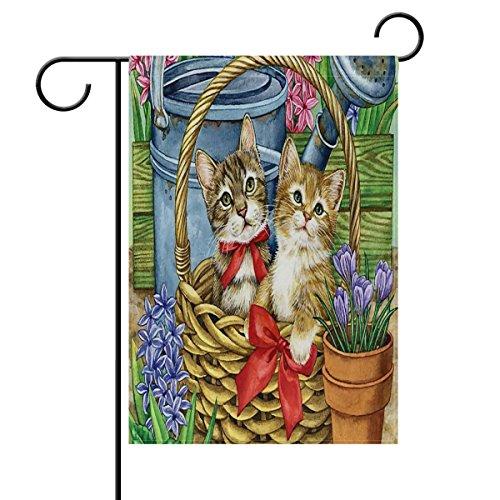 ALAZA Orange Cats In Flowers Basket House Flag Garden Banner 28