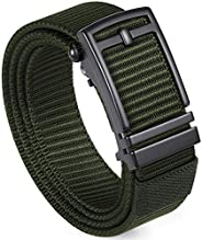 ITIEZY Men's Nylon Ratchet Web Belt, Adjustable Military Tactical Automatic Slide Belt with Invisible Belt