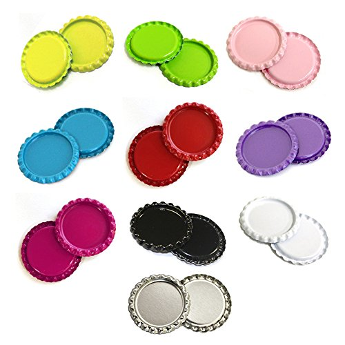 "HipGirl 50pc 1"" Flat Crown Bottle Caps For Hair Bows, Crafts, Pendants or Scrapbooks 10x5pc Double Sided Bottlecaps"