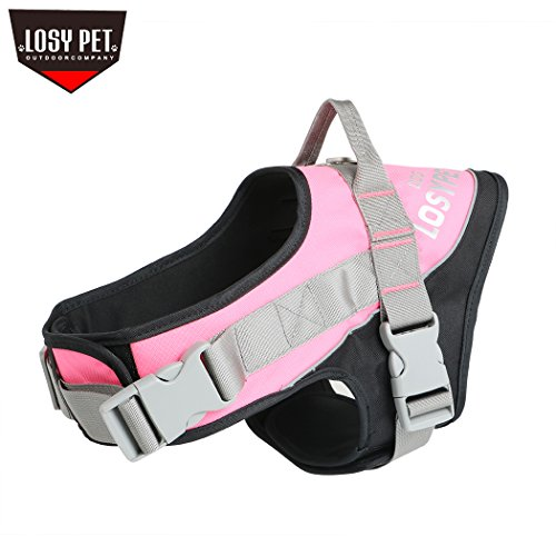 2 Colour Handles (LOSY PET Pet Dog Harness No Pull Vest with Handle Strap Full Adjustable Double Safety Buckle 3 Stylish Colors and 2 Sizes)