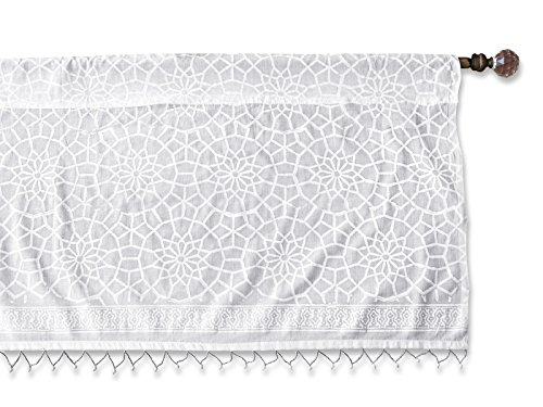 Saffron Marigold – Royal Mansour – White Moroccan Inspired Hand Printed – Sheer Cotton Voile Window Valance Curtain – Rod Pocket – (46″ x 17″) For Sale