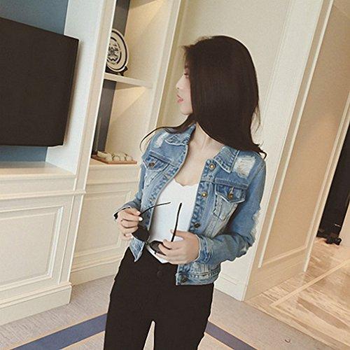 Boyfriends Short Denim Jacket Women NEW Vintage Long Sleeve Chaqueta Mujer Frayed Cool Slim Jaqueta Jeans Feminino S~XL at Amazon Womens Coats Shop