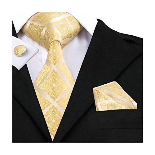 Gold Mens Tie - Hi-Tie Gold Floral Jacquard Woven Silk Tie Necktie Set for Men