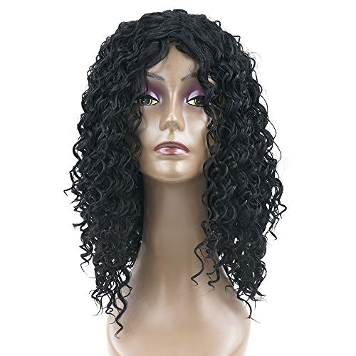 Medium Deep Wave Hairstyle Synthetic Hair Black Color Wigs Party Hair Cosplay Wig for Black Women Hairpiece Headwear ()