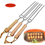 304 Stainless Steel Barbecue Forks Wooden Handle Double Fork Design,Suitable for Outdoor Barbecue,9Packs