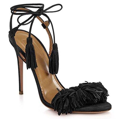 sandales Chaussures femmes cravates pour fringe tassel hauts pompes à Stiletto Noir H talons lacets à uBeauty xXnd5q17d