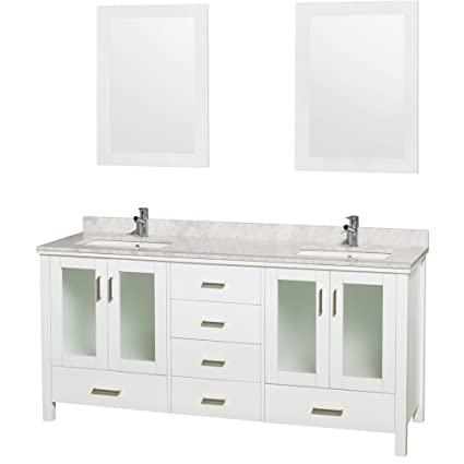 Wyndham Collection Lucy 72 Inch Double Bathroom Vanity In White