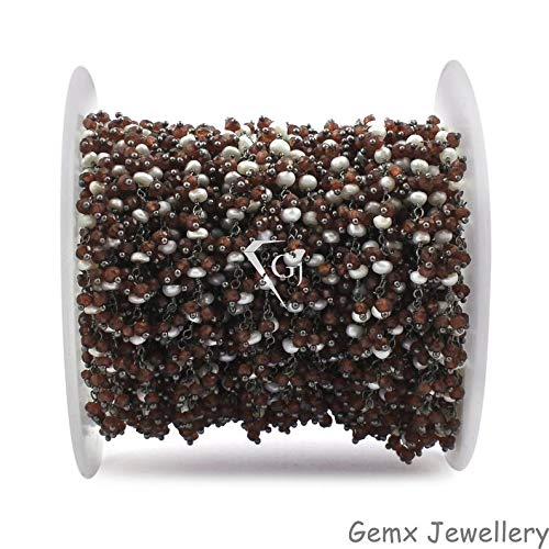 Gems-World Jewelry Garnet with Pearl Gemstone Cluster Chain, Dangle Beads Chain, Wire Wrapped Beads Chain, Black Plated Link Chain. (CCB-31)