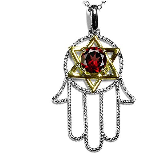 Star K Large Hamsa Hand Jewish Star of David Pendant Necklace with Genuine Garnet 10 kt Two Tone Gold (Tone Two Pendants Garnet)