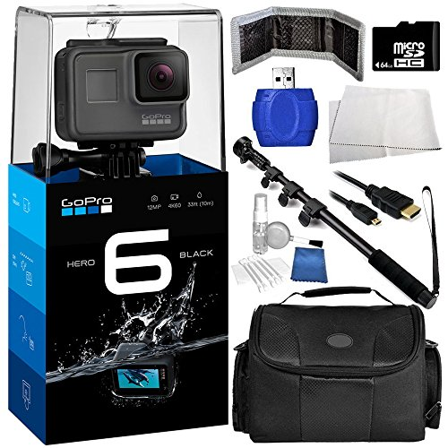 GoPro HERO6 Black 9PC Bundle – Includes 64GB MicroSD Memory Card + High Speed SD Card Reader + Memory Card Wallet + MORE