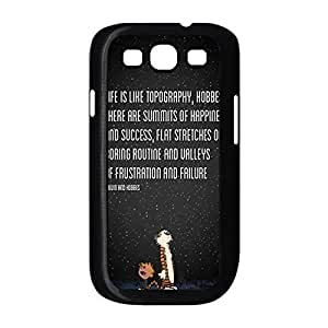 Thin Solid Plastic Back Case Cover with Calvin and Hobbes for Samsung Galaxy S3 I9300 -Black031309