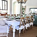 Linen Chair Seat Covers, Large Size, White Linen, Ruffle on 4 Sides (no pad included - just a slip cover)