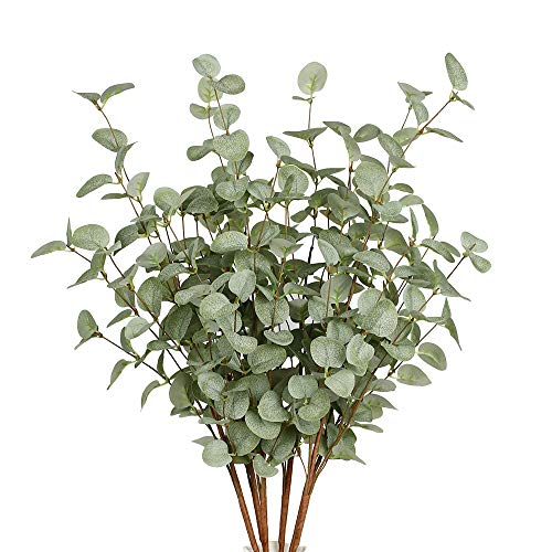 VGIA 6 Pcs Artificial Greenery Stems Eucalyptus Leaf Spray in Green Silk Plastic Plants Floral Greenery Stems for Home Party Wedding - Artificial Green Spray