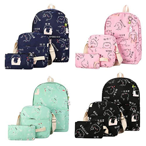 Backpacks Green Blue Teenage 3Pcs School Girls Deep YHF8ndWnx