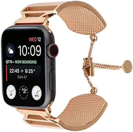 Juzzhou Watch Band for Apple Watch iWatch 38mm/40mm/42mm/44mm Series 1/2/3/4 Stainless Steel Replacement with Metal Adapter